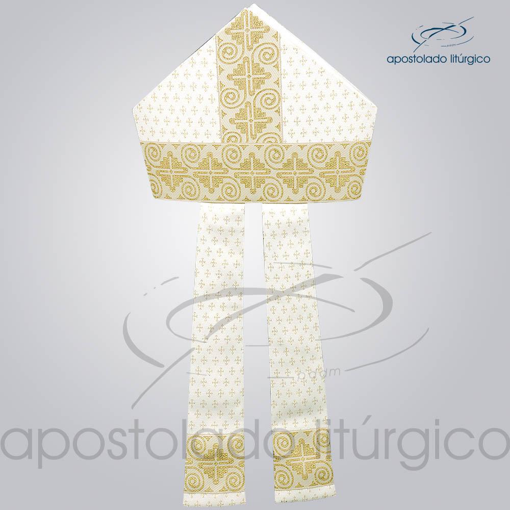 Mitra Gotica Brocada Cruz 2 Galao 9 Branco Infola | Apostolado Litúrgico Brasil