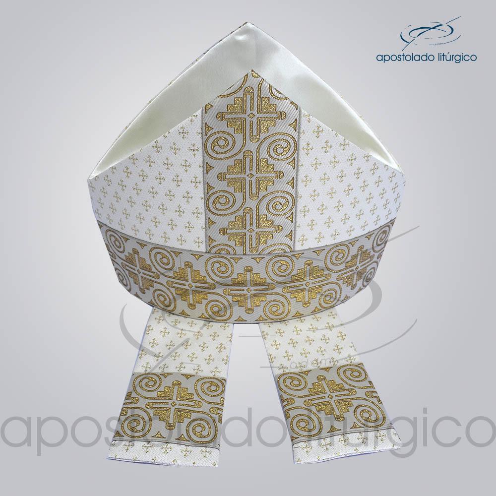 Mitra Gotica Brocada Cruz 2 Galao 9 Branco cima | Apostolado Litúrgico Brasil