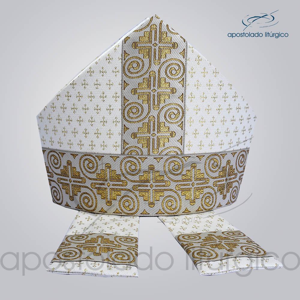 Mitra Gotica Brocada Cruz 2 Galao 9 Branco | Apostolado Litúrgico Brasil