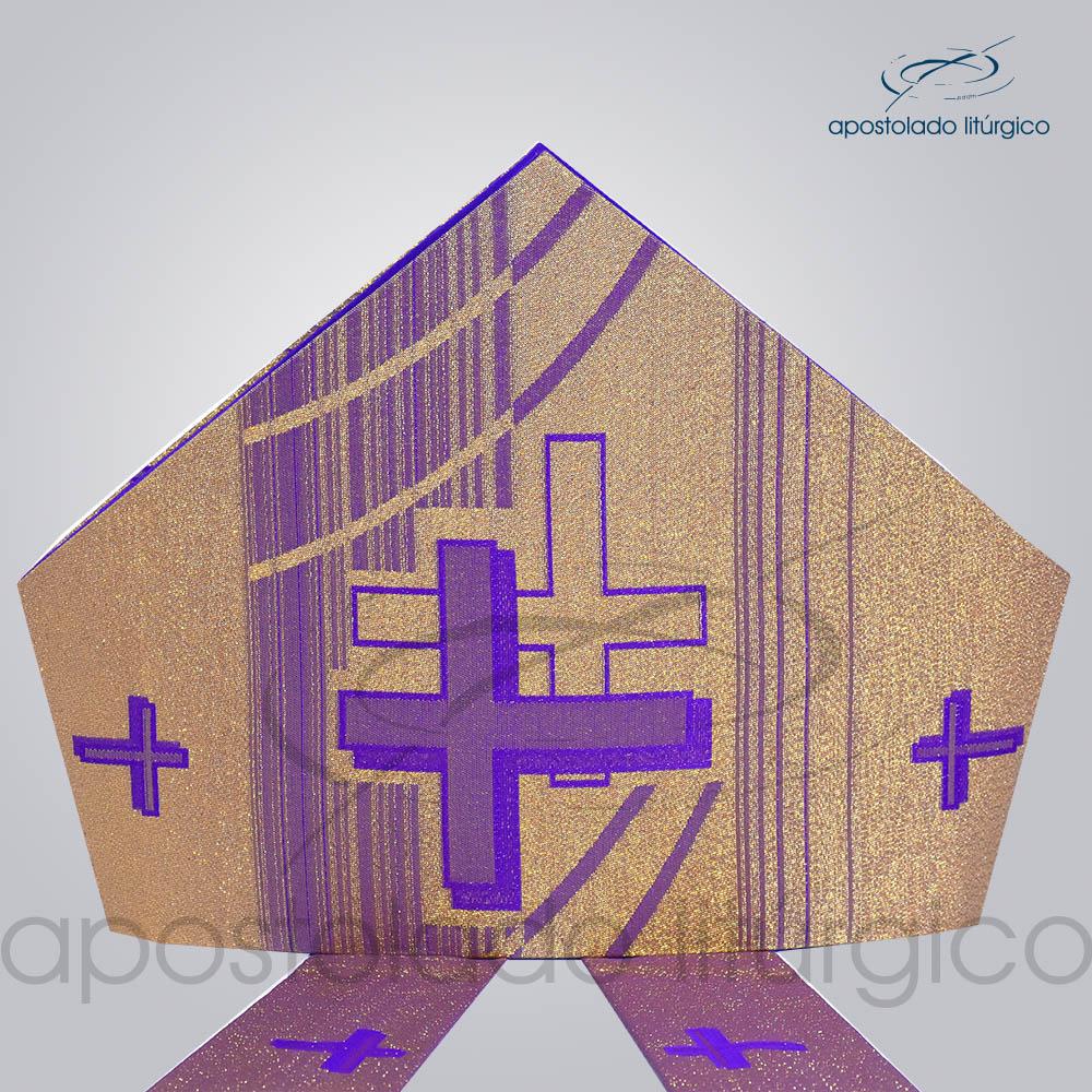 Mitra Gotica Cruz Pascal 1 Roxa | Apostolado Litúrgico Brasil