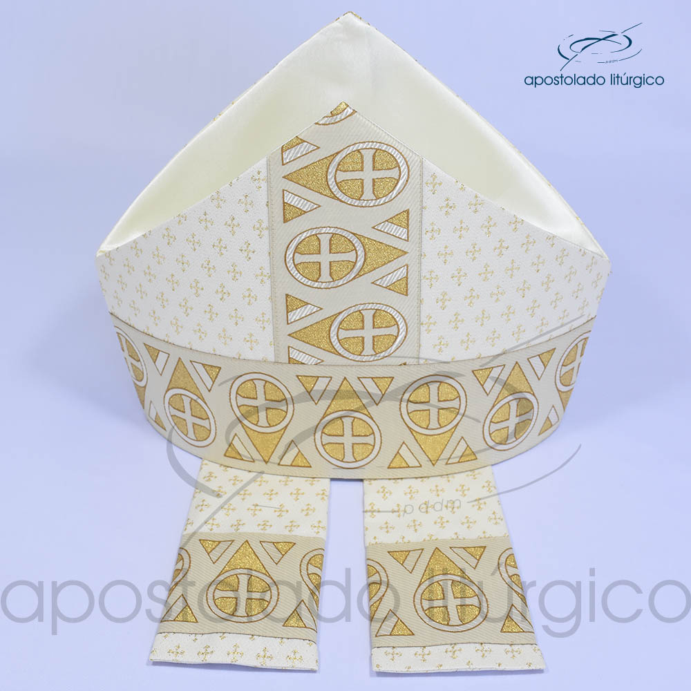 Mitra Gotica brocado cruz 2 galao 15 Branca Cima | Apostolado Litúrgico Brasil