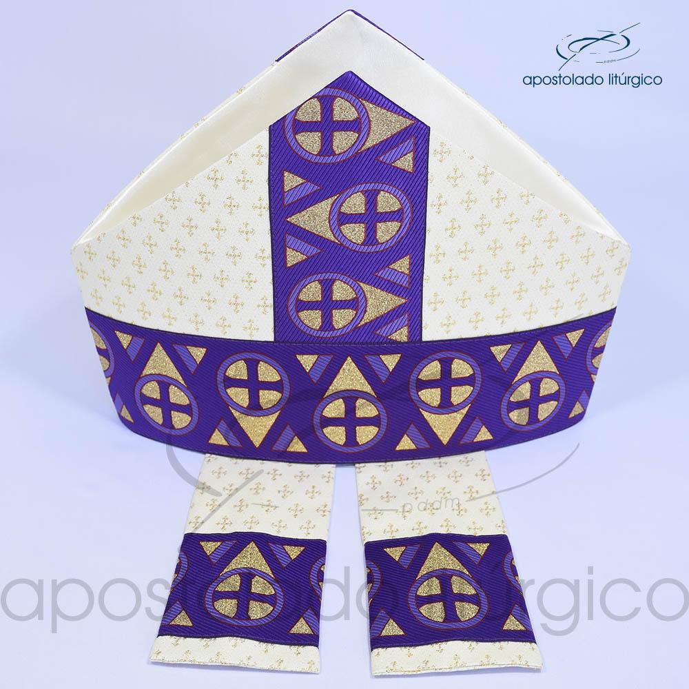 Mitra Gotica brocado cruz 2 galao 15 Roxa Cima | Apostolado Litúrgico Brasil