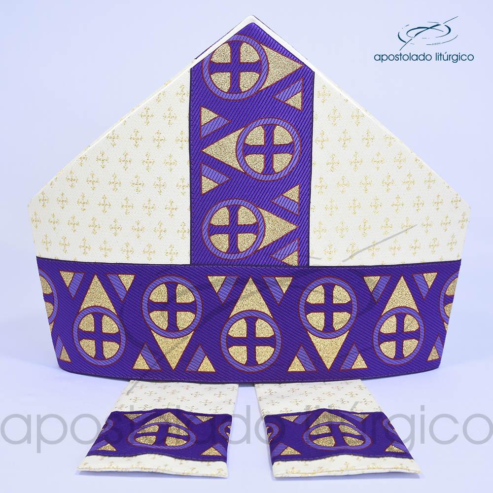 Mitra Gotica brocado cruz 2 galao 15 Roxa | Apostolado Litúrgico Brasil