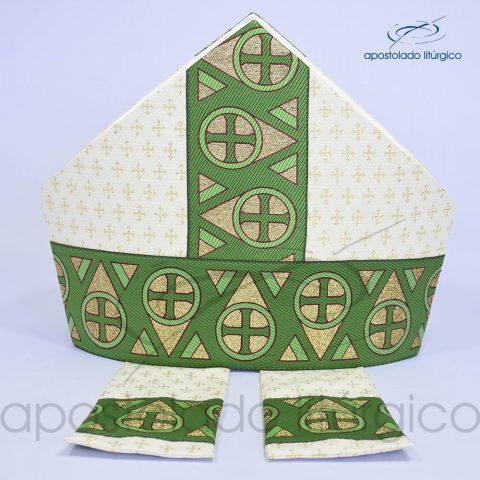 Mitra Gotica brocado cruz 2 galao 15 Verde
