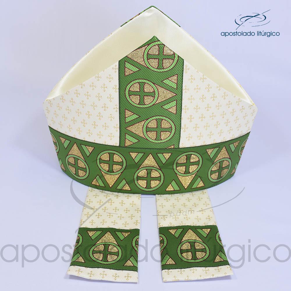 Mitra Gotica brocado cruz 2 galao 15 Verde Cima | Apostolado Litúrgico Brasil