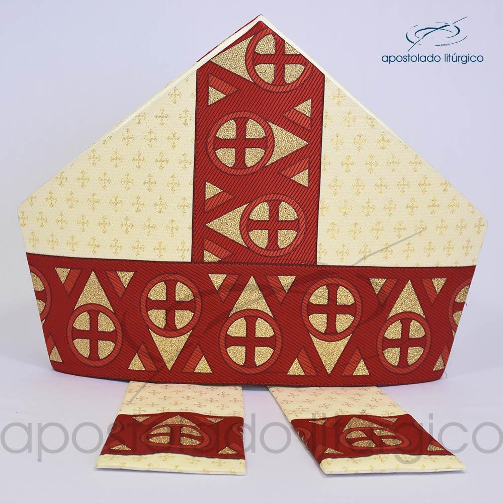 Mitra Gotica brocado cruz 2 galao 15 Vermelho | Apostolado Litúrgico Brasil