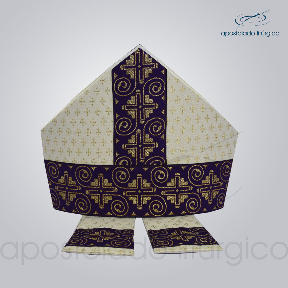 Mitra Gotica brocado cruz 2 galao 9 roxo | Apostolado Litúrgico Brasil