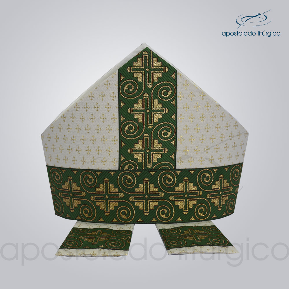 Mitra Gotica brocado cruz 2 galao 9 verde | Apostolado Litúrgico Brasil
