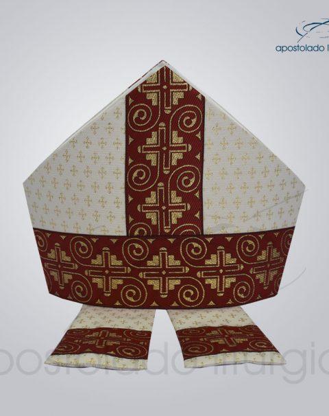 Mitra Gotica brocado cruz 2 galao 9 vermelho