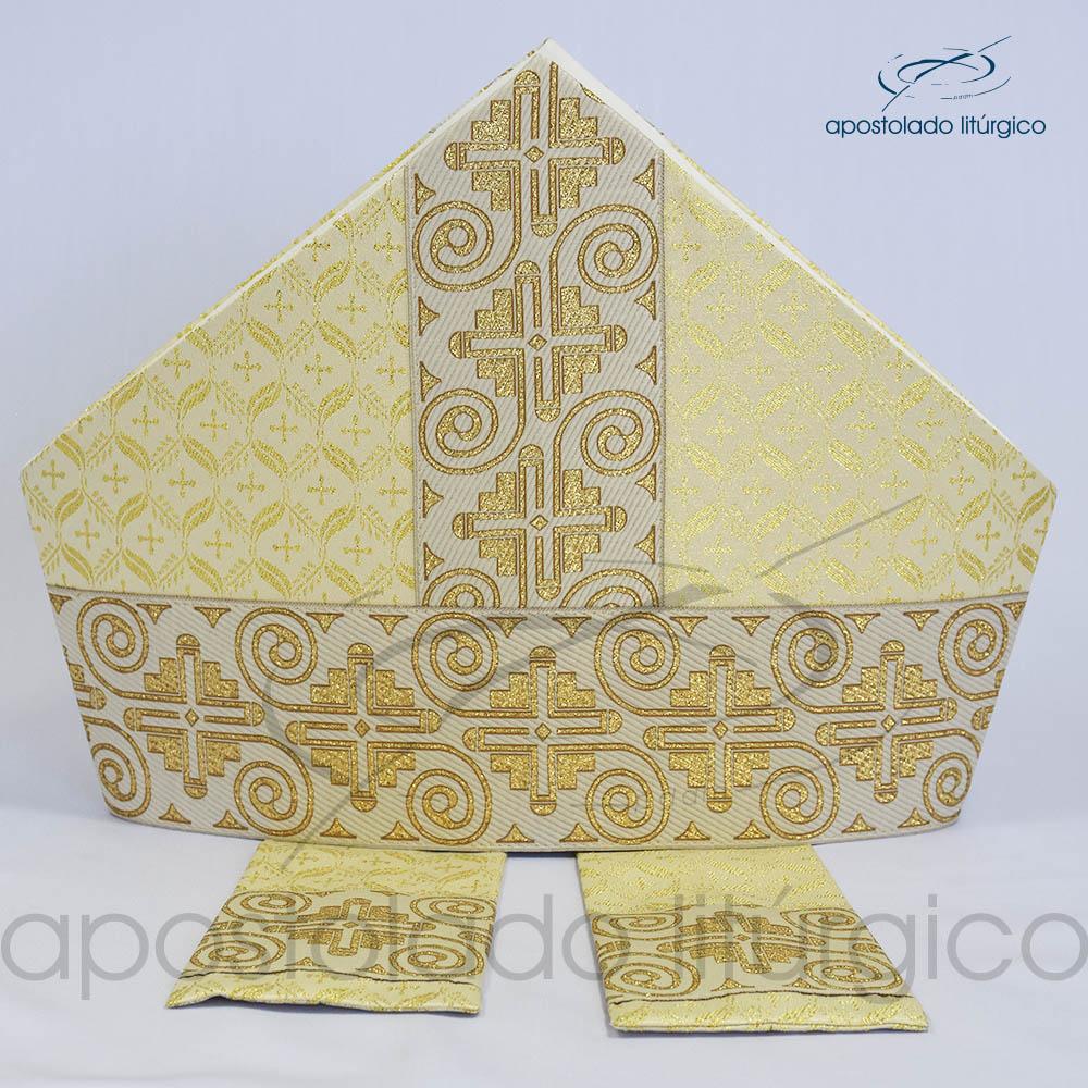 Mitra Gotica brocado damasco galao 9 Branca | Apostolado Litúrgico Brasil