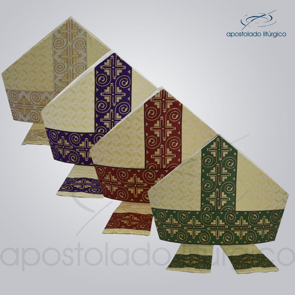 Mitra Gotica brocado damasco galao 9 conjunto | Apostolado Litúrgico Brasil