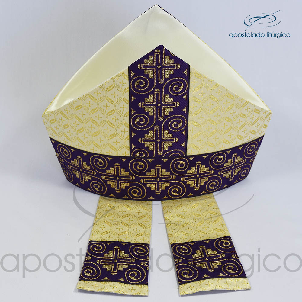 Mitra Gotica brocado damasco galao 9 roxo cima | Apostolado Litúrgico Brasil