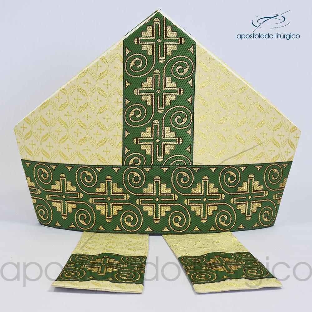 Mitra Gotica brocado damasco galao 9 verde | Apostolado Litúrgico Brasil
