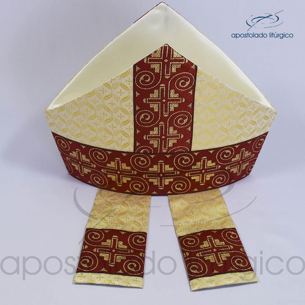 Mitra Gotica brocado damasco galao 9 vermelho cima | Apostolado Litúrgico Brasil