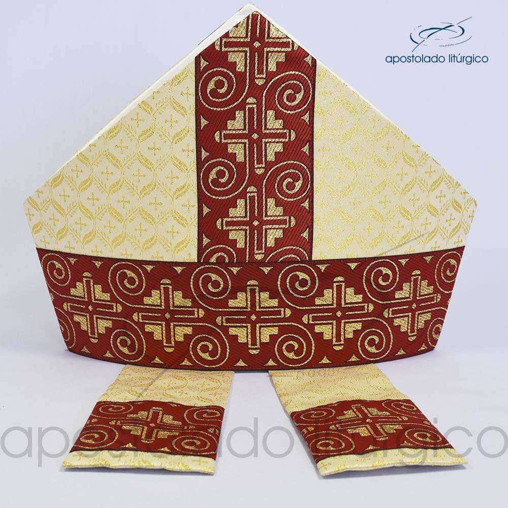 Mitra Gotica brocado damasco galao 9 vermelho | Apostolado Litúrgico Brasil