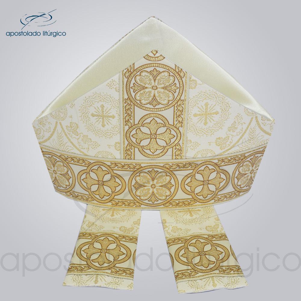 Mitra Gotica brocado koine galao 10 Branca | Apostolado Litúrgico Brasil