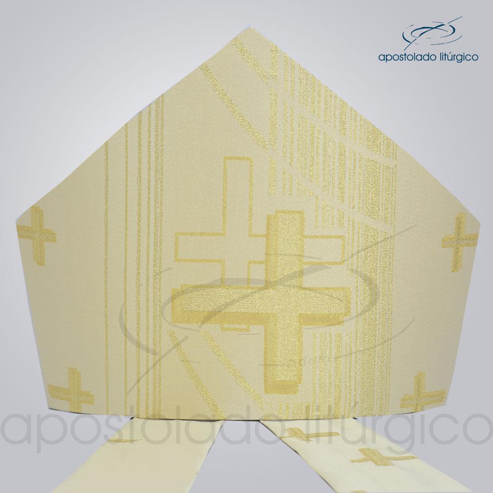 Mitra Gotica cruz pascal 1 Perola | Apostolado Litúrgico Brasil