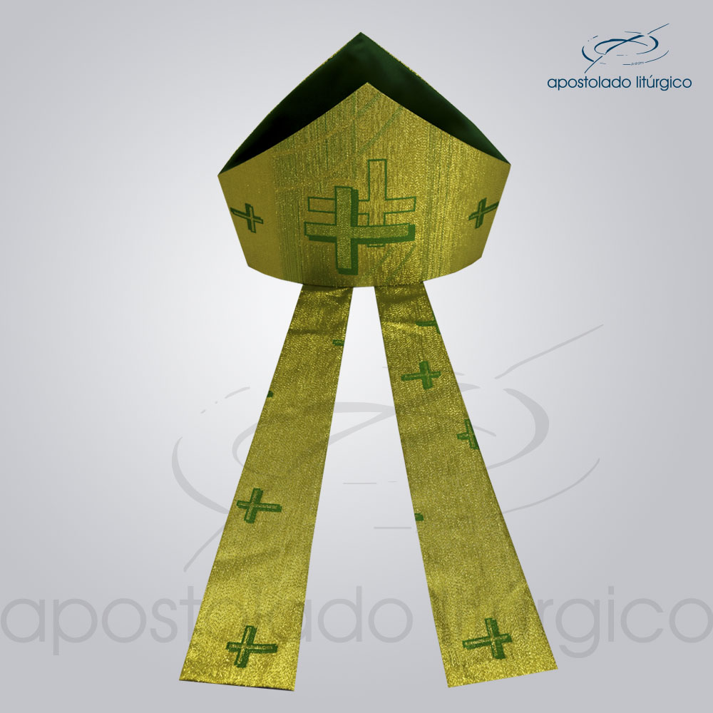 Mitra Gotica cruz pascal 1 verde infola