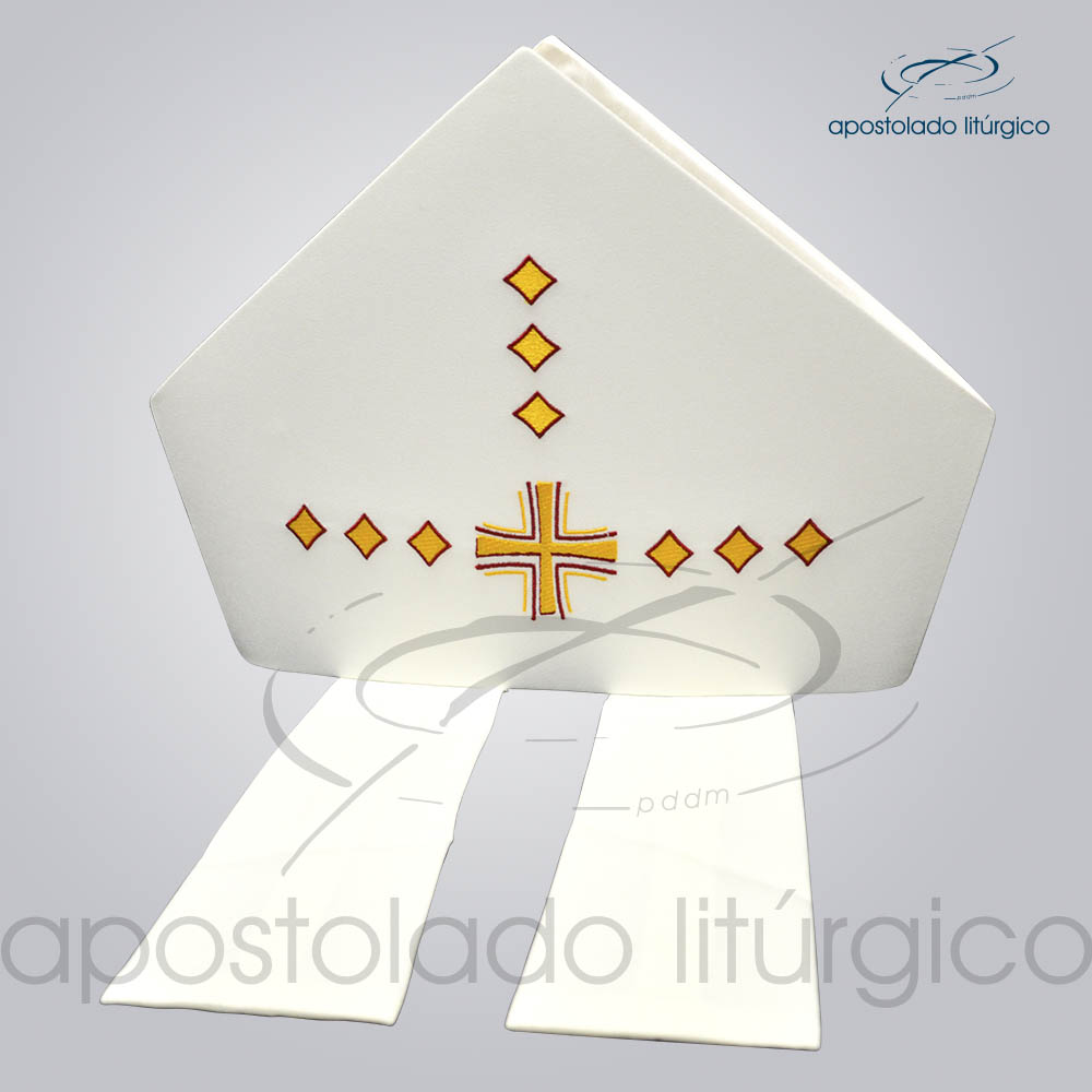 Mitra Oxford Bordada Cruz Vida Bege COD 3087 | Apostolado Litúrgico Brasil