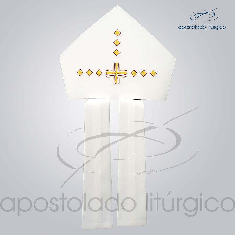 Mitra Oxford Bordada Cruz Vida Bege Infola COD 3087   Apostolado Litúrgico Brasil