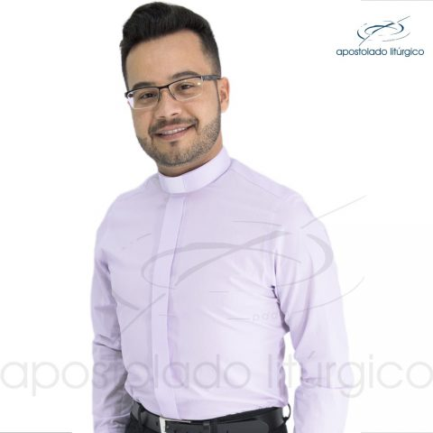 Padre Alex Camisa Slim Fit Gola Clerical Manga Longa Lilás Frente