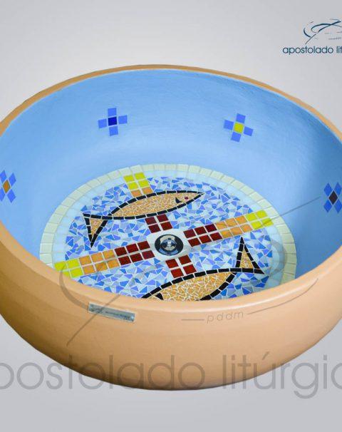 Pia Batismal Cruz Peixe 26×63 cm (Fundo 41cm) Fundo