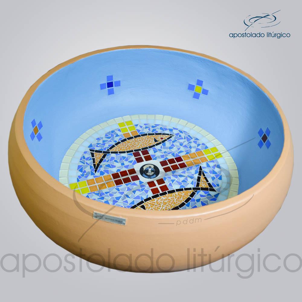 Pia Batismal Cruz Peixe 26x63 cm Fundo 41cm Fundo | Apostolado Litúrgico Brasil