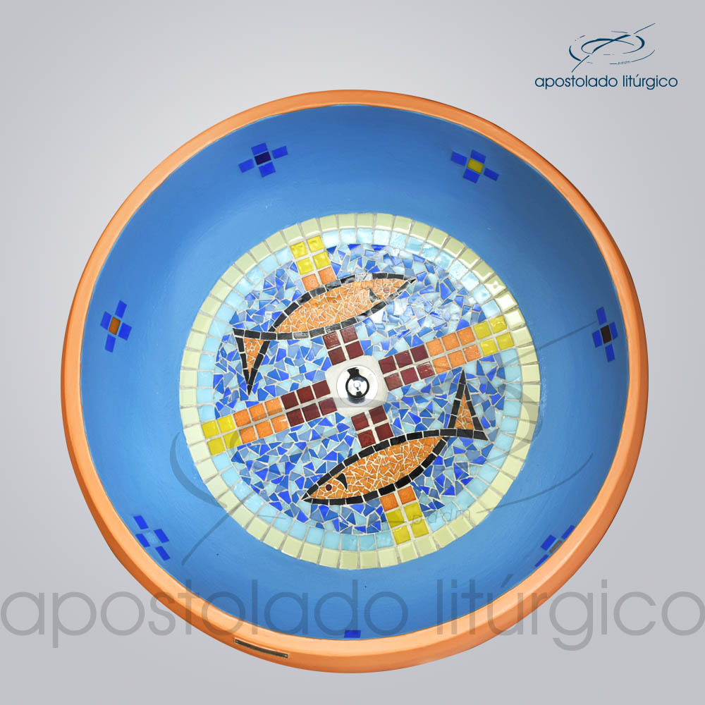 Pia Batismal Cruz Peixe 26x63 cm Fundo 41cm Vista de Cima | Apostolado Litúrgico Brasil
