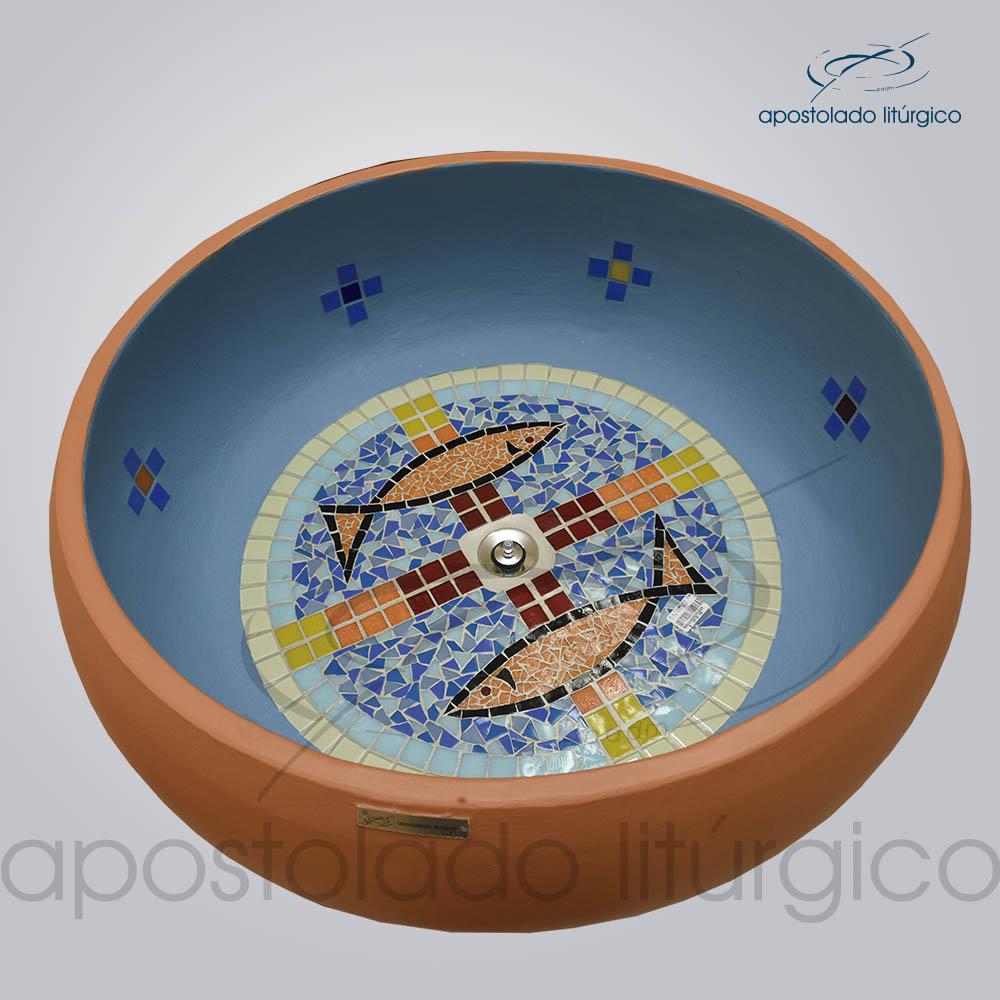 Pia Batismal Cruz Peixe 26x63 cm Fundo 41cm | Apostolado Litúrgico Brasil