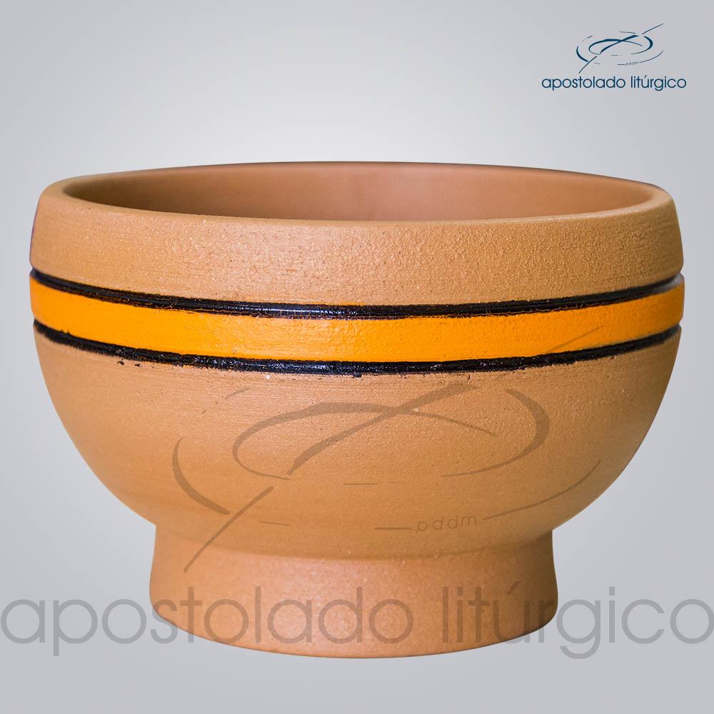 Porta Incenso 7x10cm Faixa Laranja Lateral COD 2180   Apostolado Litúrgico Brasil