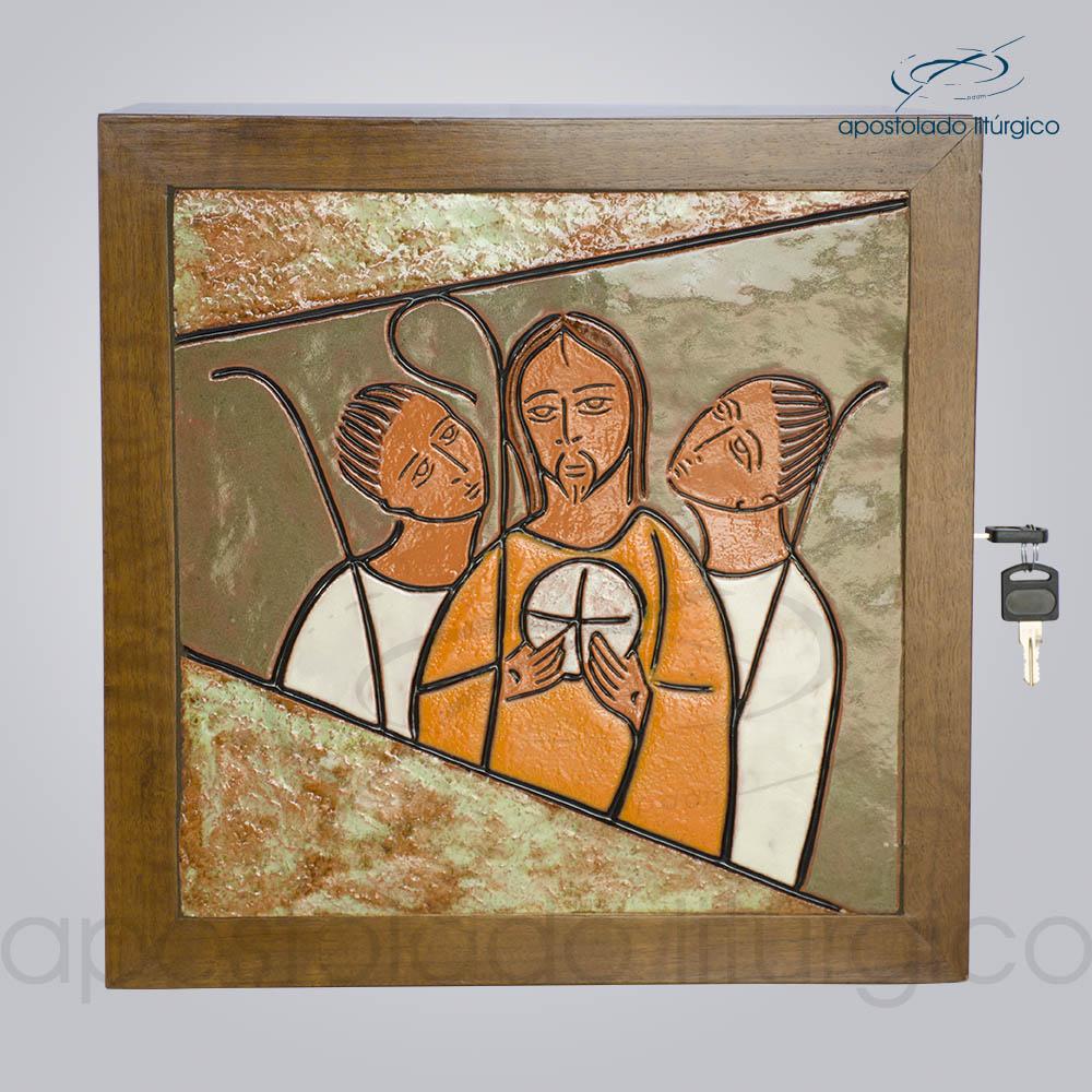 Sacrário Emaús Vidrado 33x33x26cm Frente COD 4158 | Apostolado Litúrgico Brasil