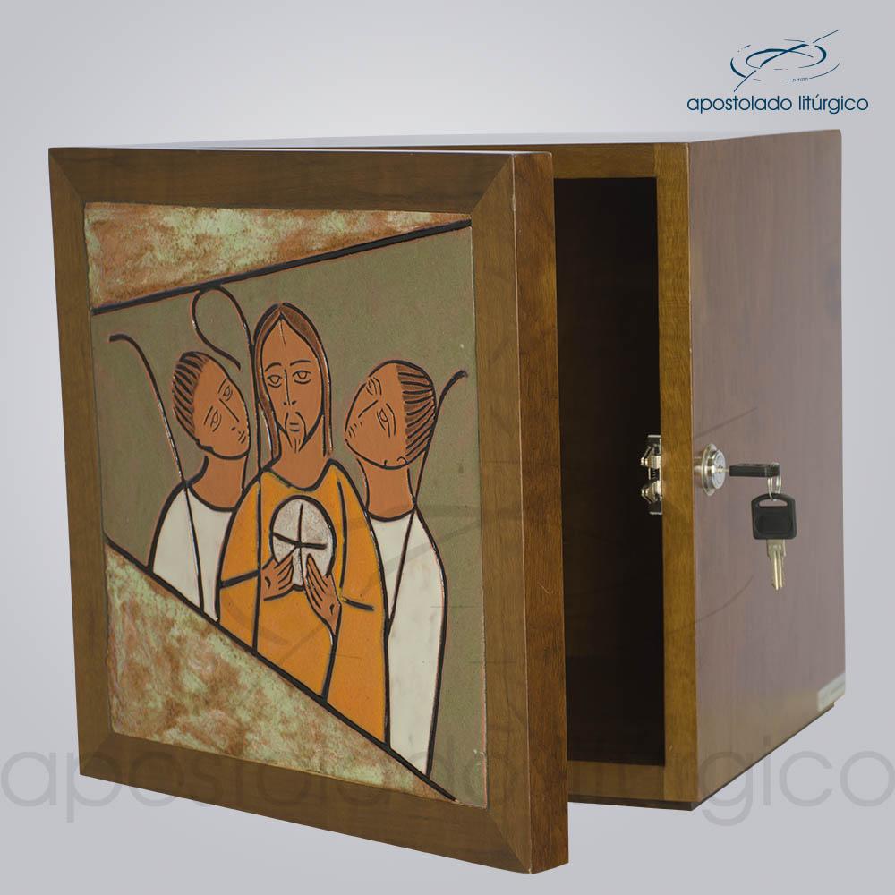 Sacrário Emaús Vidrado 33x33x26cm Frente Lateral Aberta COD 4158 | Apostolado Litúrgico Brasil