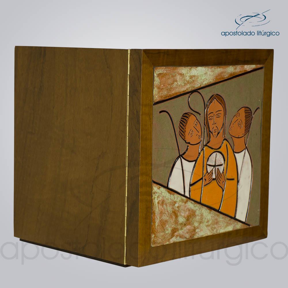 Sacrário Emaús Vidrado 33x33x26cm Frente Lateral COD 4158 | Apostolado Litúrgico Brasil