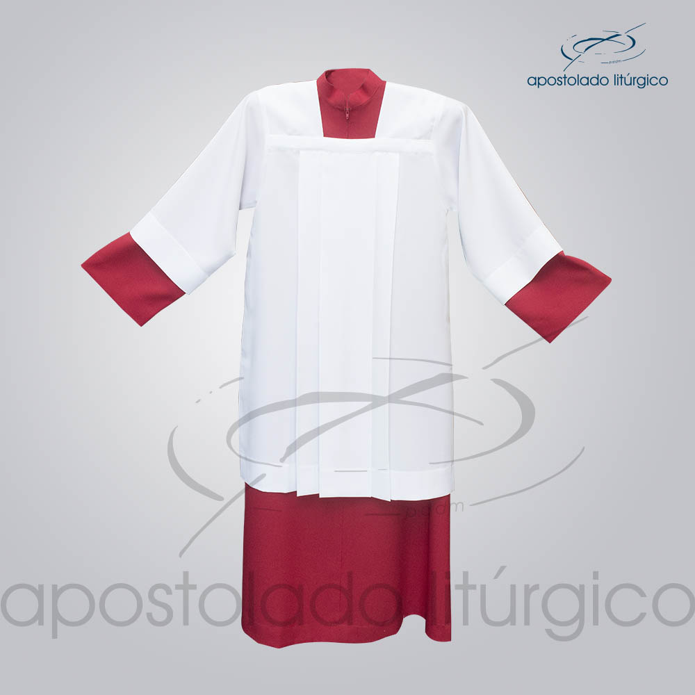 Tunica Evaze para Coroinha vermelha ate 135 COD 3090 Sobrepeliz para Coroinha Frente Mangas COD 3091 1 | Apostolado Litúrgico Brasil