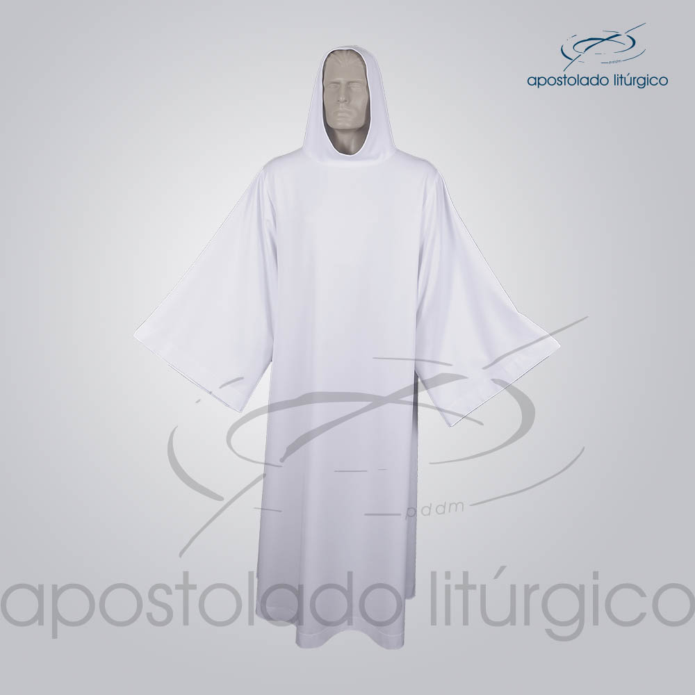 Tunica Monacal Capuz Branca Frente 2 COD 1166 | Apostolado Litúrgico Brasil