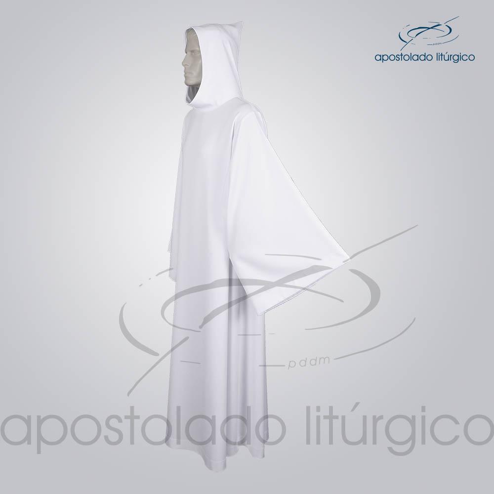Tunica Monacal Capuz Branca Lado COD 1166 | Apostolado Litúrgico Brasil