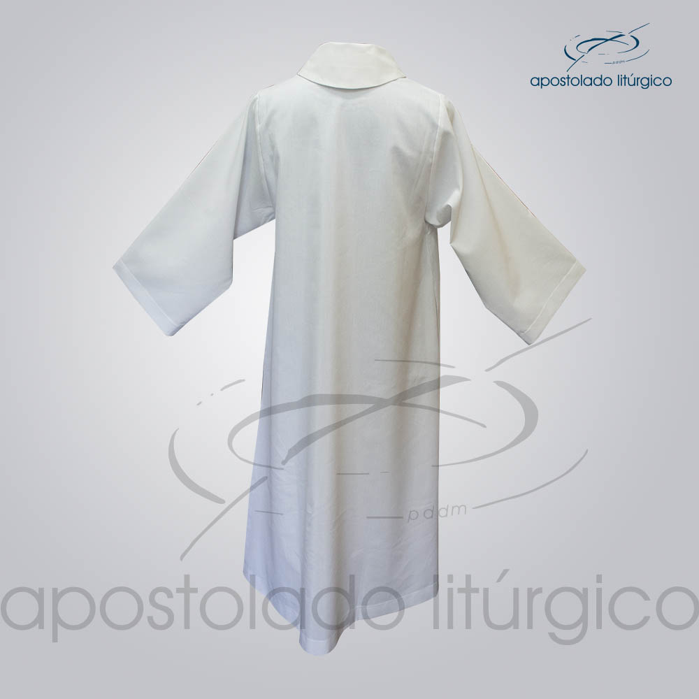 Tunica para Acolito Branca Costas COD 1141   Apostolado Litúrgico Brasil