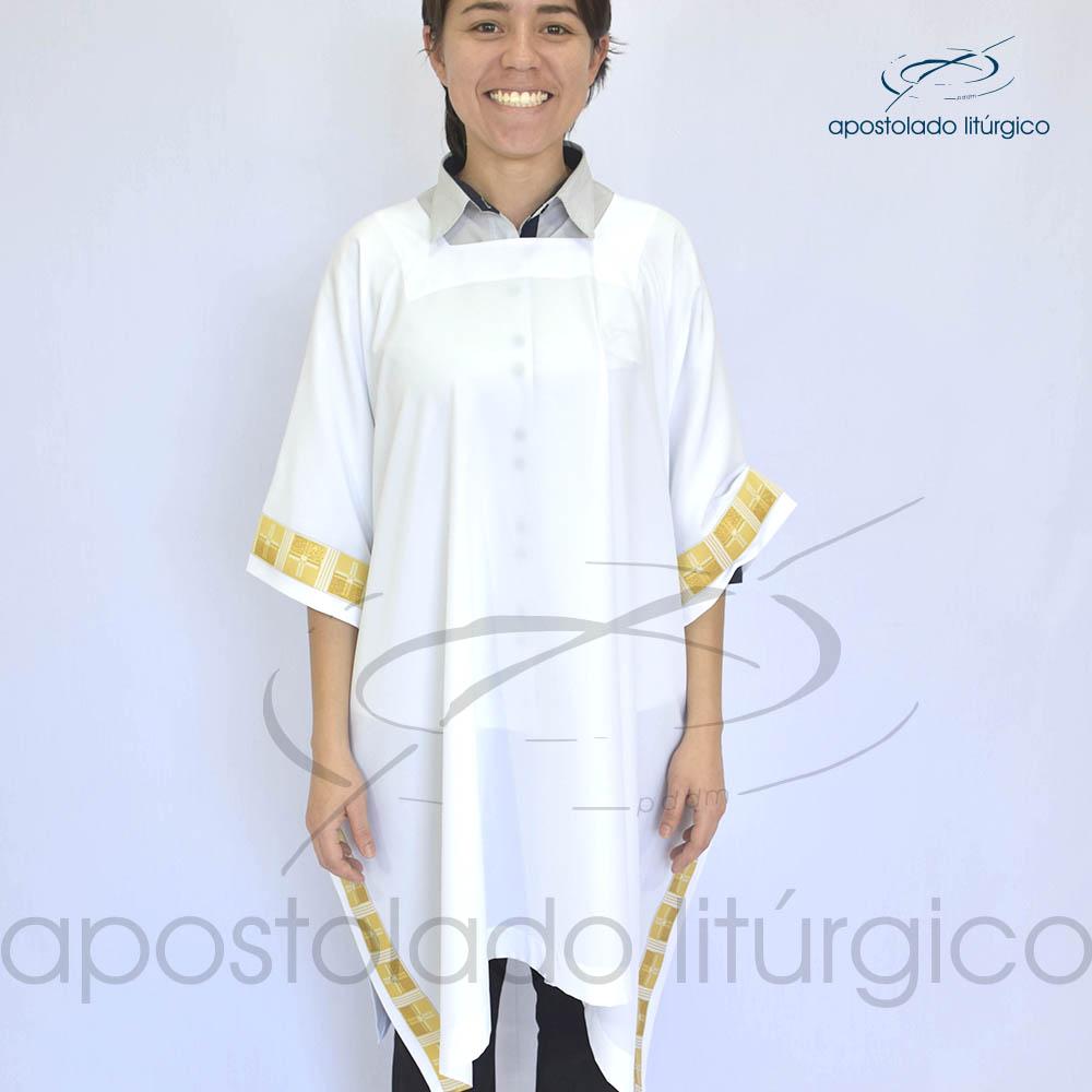 Veste Aplique 16 Dourada Arredondada frente | Apostolado Litúrgico Brasil
