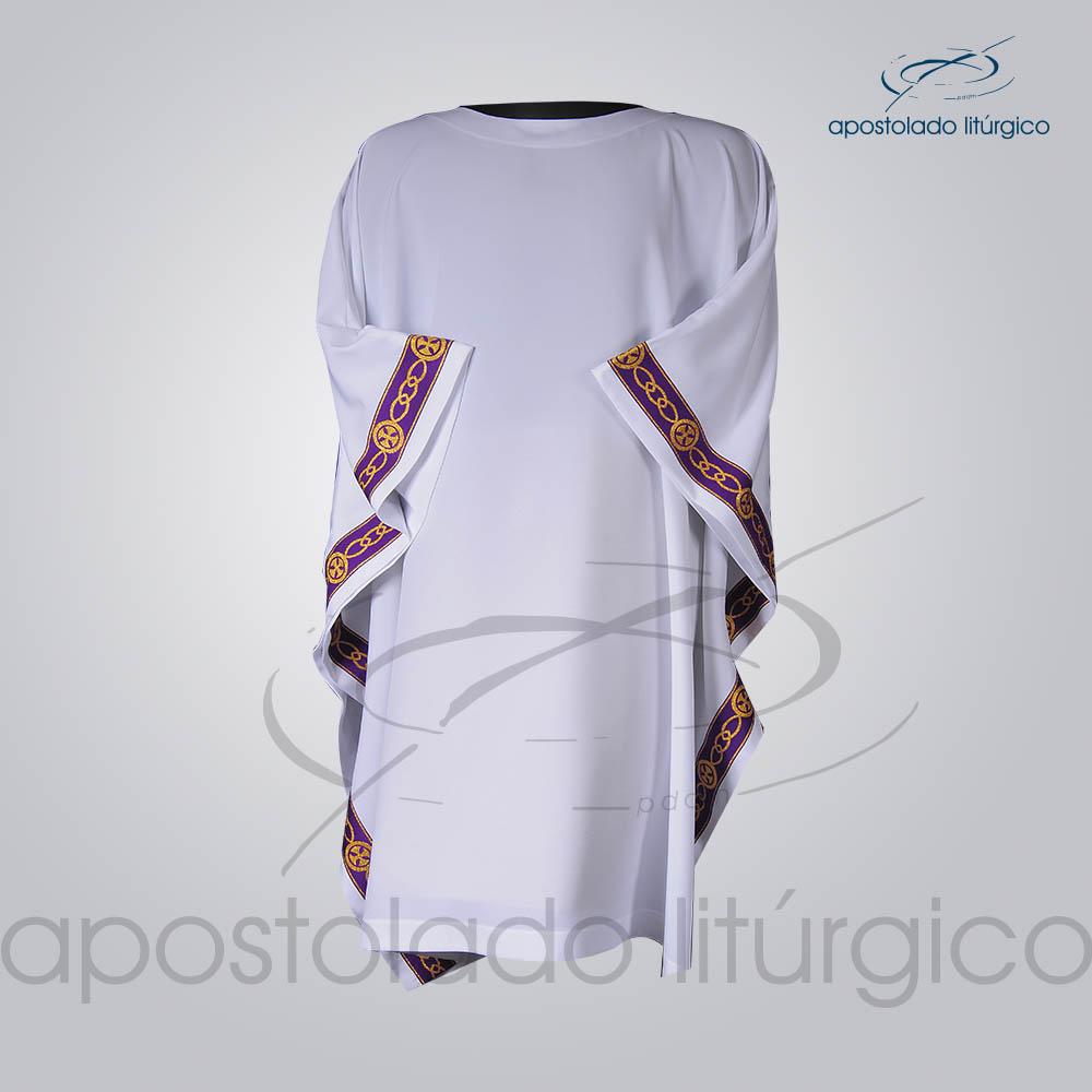 Veste Galao Estreito 11 Roxa Arredondado Branca Frente COD 3362 | Apostolado Litúrgico Brasil