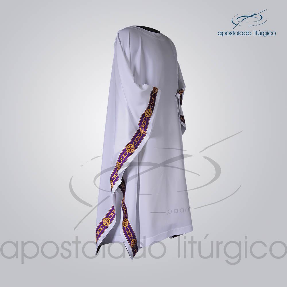 Veste Galao Estreito 11 Roxa Arredondado Branca Lateral COD 3362 | Apostolado Litúrgico Brasil
