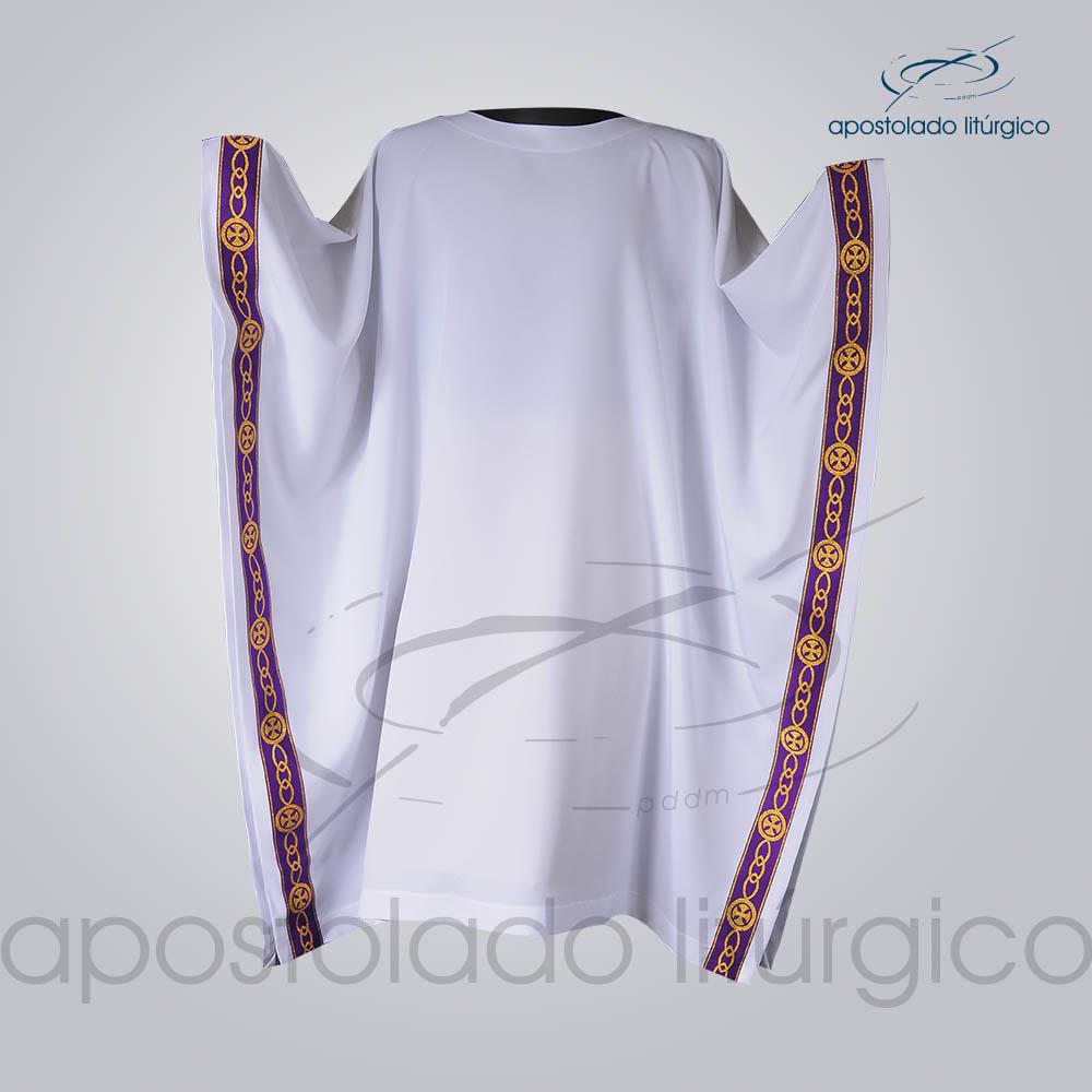 Veste Galao Estreito 11 Roxa Arredondado Branca Manga Frente COD 3362 | Apostolado Litúrgico Brasil
