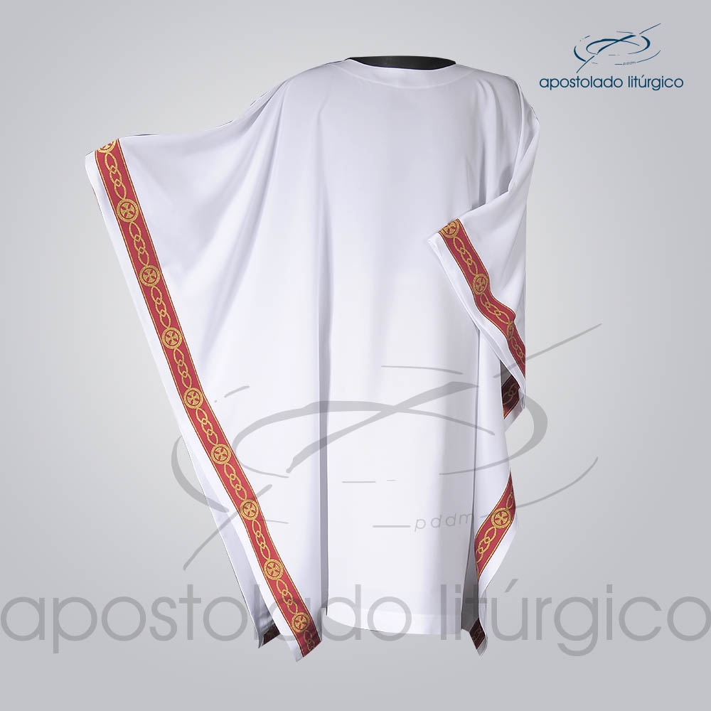 Veste Galao Estreito 11 Vermelha Arredondado Branca Manga Frente COD 3362 | Apostolado Litúrgico Brasil