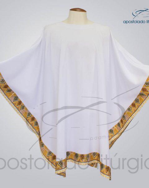 Veste Poncho Aplique 9 Retangular Branca – COD 1803