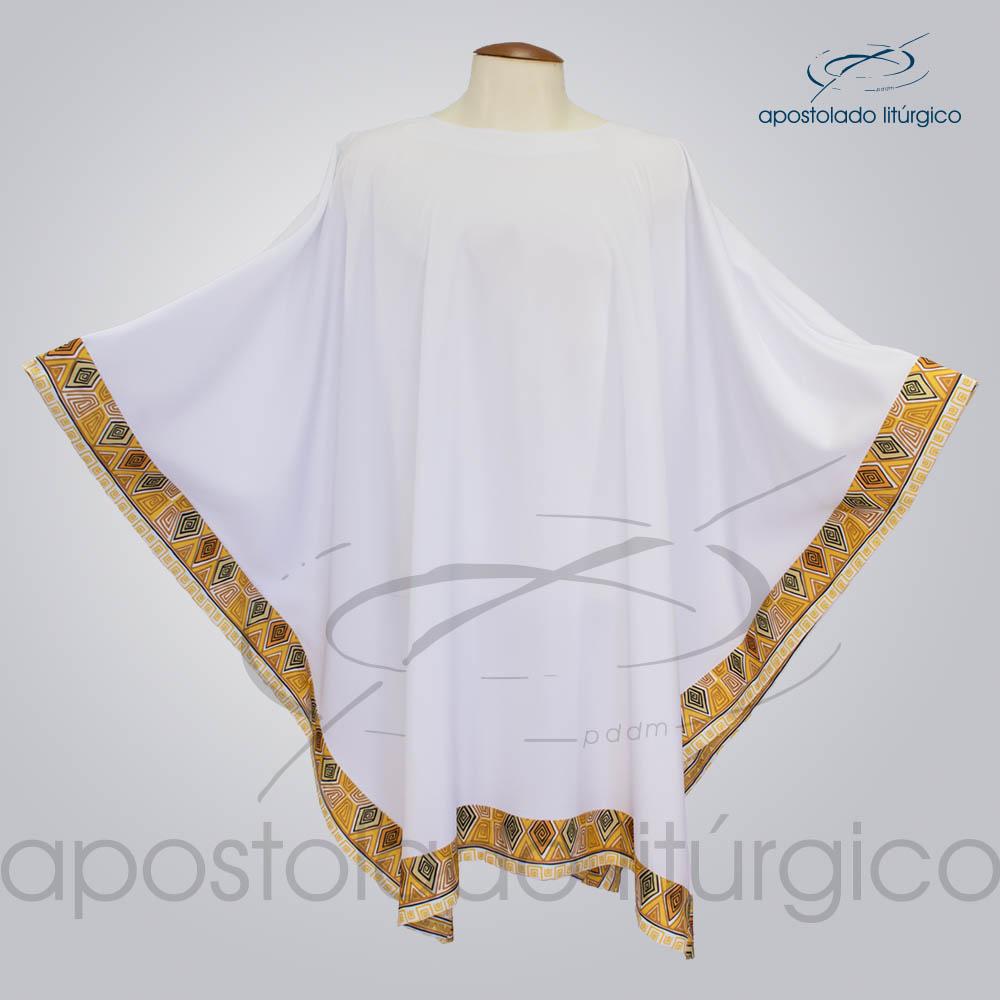 Veste Poncho Aplique 9 Retangular Branca COD 1803 | Apostolado Litúrgico Brasil