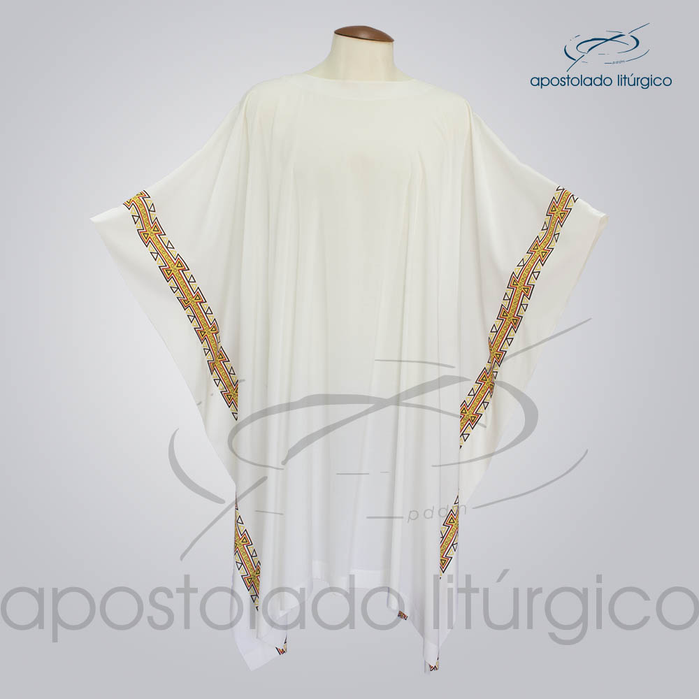 Veste com 2 Estampas Grega Bege COD 3859 | Apostolado Litúrgico Brasil