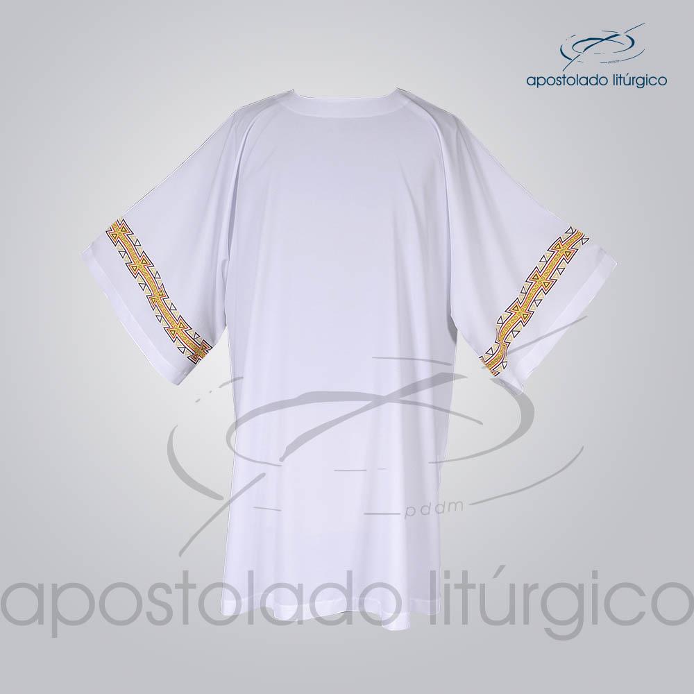 Veste com 2 Estampas Grega Manga Branca Frente COD 3872 | Apostolado Litúrgico Brasil