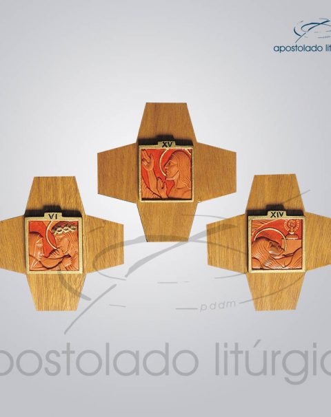 Via Sacra Madeira e Resina Cruz Figura 16x16cm (Madeira Clara) Conjunto – COD 4015