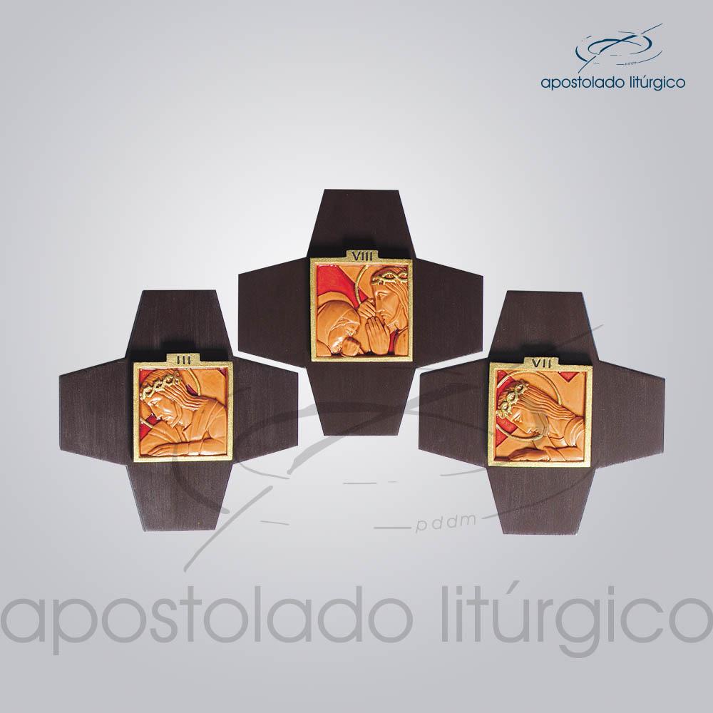 Via Sacra Madeira e Resina Cruz Figura 16x16cm Madeira Escura Conjunto COD 4015 | Apostolado Litúrgico Brasil