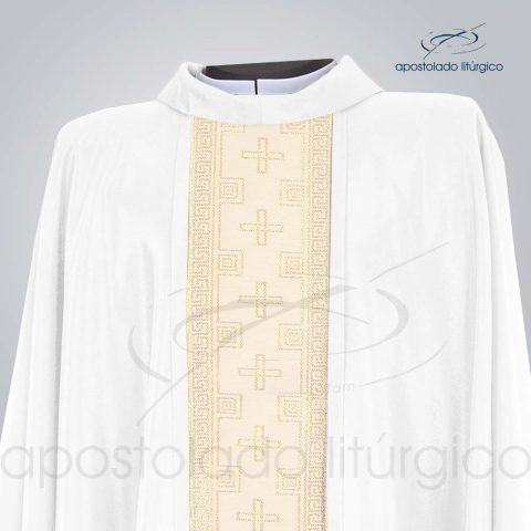 Casula Crepe Seda Galao [Cruz] Branca Frente Gola