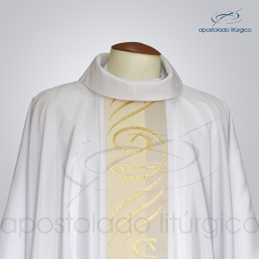 Casula Crepe Seda Galao Peixe Pao Branca Frente Gola | Apostolado Litúrgico Brasil